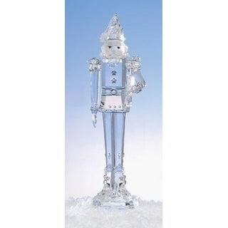 "11.75"" Icy Crystal Nutcracker Holding Trumpet Christmas Figure Decoration"