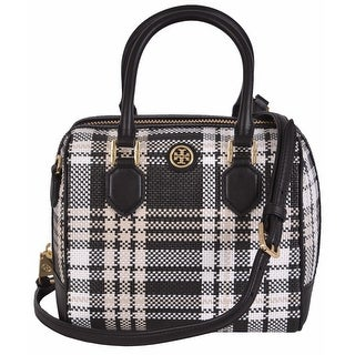 "Tory Burch Plaid Mini Middy Convertible Satchel Purse Handbag - 8"" x 8"" x 5.5"""