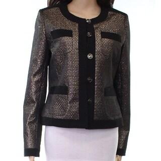 Karl Lagerfeld NEW Gold Metallic Women's Size 8 Boxy 4-Pocket Jacket