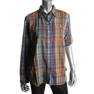 LRL Lauren Jeans Co. Womens Button-Down Top Cotton Plaid - l