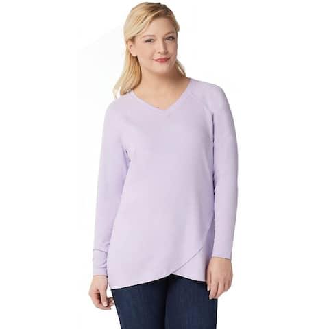 Isaac Mizrahi Womens Plus SOHO Raglan Sleeve Tulip Hem Top 1X Lilac A351123