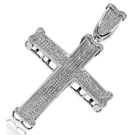 Mens Cross With Diamonds 1.49cttw Large 53mm Tall By MidwestJewellery - White
