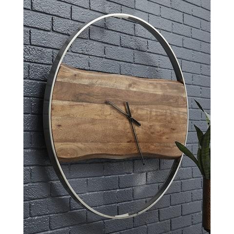 Panchali Brown/Silver Finish Wall Clock - 024052686944
