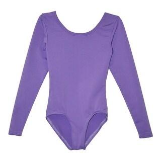 Little Girls Lavender Solid Color Long Sleeved Dancewear Leotard