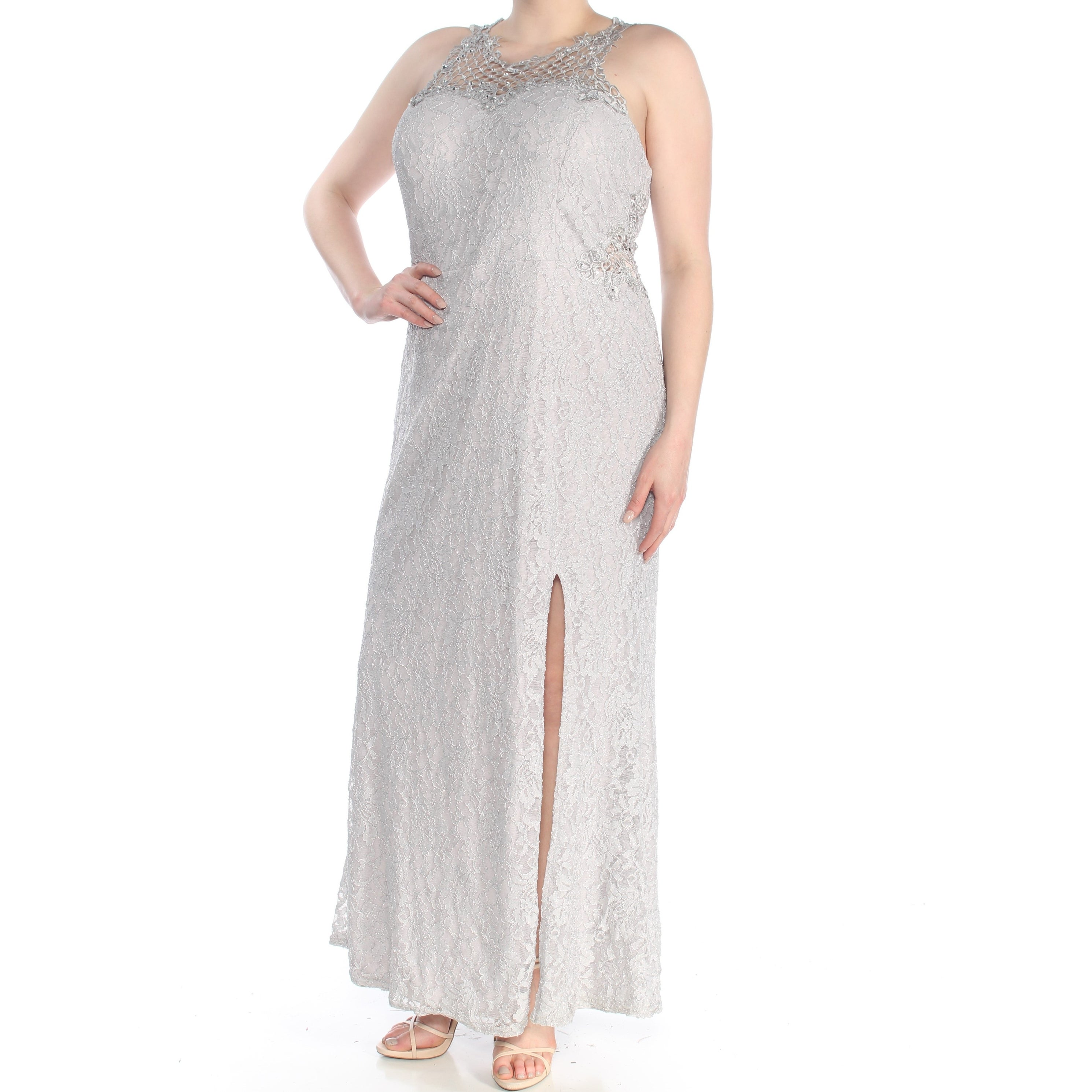 City Studio Womens Silver Lace Slitted Illusion Neckline Full Length Formal Dress Size 18