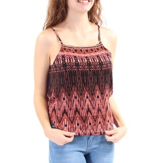 Womens Brown Printed Spaghetti Strap Jewel Neck Vest Top Size XS