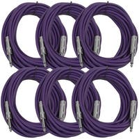 "SEISMIC AUDIO  6 PACK Purple 1/4"" TS 25' Patch Cables - Guitar - Instrument"