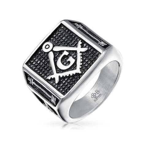 Black Square Compass Men Signet Freemason Masonic Ring Stainless Steel