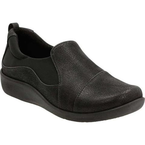 Clarks Women's Sillian Paz Slip-On Black Synthetic Nubuck
