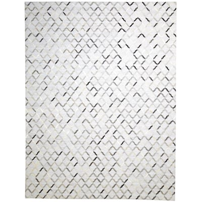 """One of a Kind Hand-Woven Modern & Contemporary 9' x 12' Geometric Leather Grey Rug - 9'1""""x11'11"""""""