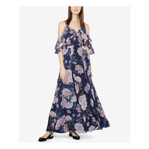 FAME AND PARTNERS Navy Spaghetti Strap Full-Length Dress 4