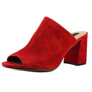Steven Steve Madden Fume Women Open Toe Suede Red Slides Sandal