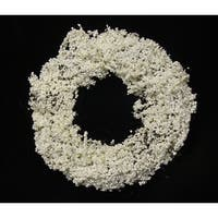 "21"" Decorative Artificial White Iced Berry Christmas Wreath - Unlit"