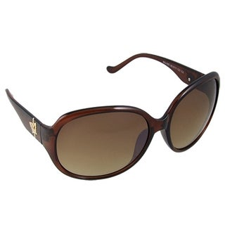 Oval Lens Butterfly Decor Plastic Arm Brown Sunglasses