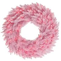 "36"" Pink Fir Wreath DuraL LED 100Pk 320T"