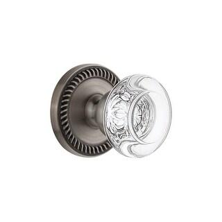 "Grandeur NEWBOR_PRV_234  Newport Solid Brass Rose Privacy Door Knob Set with Bordeaux Crystal Knob and 2-3/4"" Backset"