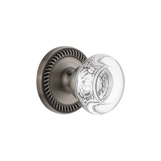Grandeur NEWBOR_SD_NA  Newport Solid Brass Rose Single Dummy Door Knob with Bordeaux Crystal Knob