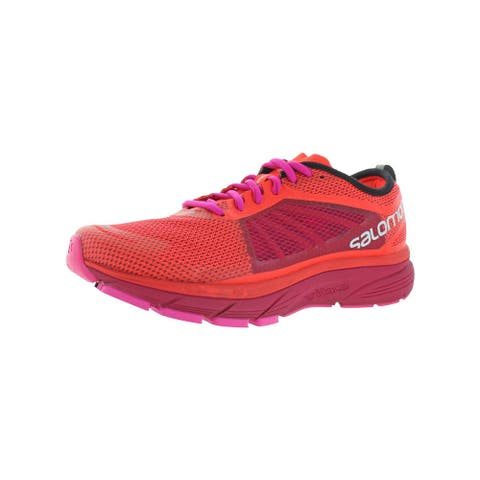 Salomon Womens Sonic RA Running Shoes Sport Colorblock - Fiery Coral/Cerise/Pink Glo - 9.5 Medium (B,M)