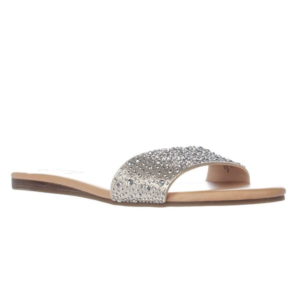 I35 Zinaa2 Sparkle Slide Sandals, Pearl Gold