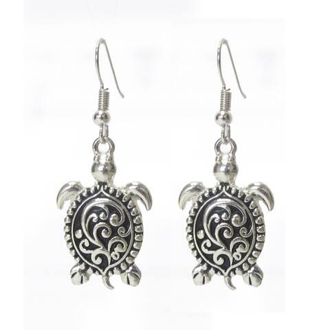 Vine Textured Metal Turtle Hook Earrings