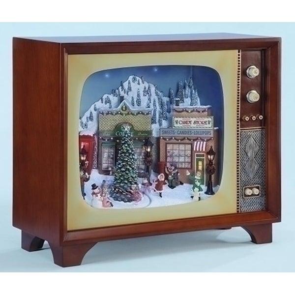 "20"" Amusements LED Animated Musical Village Retro Christmas Television Set. Opens flyout."