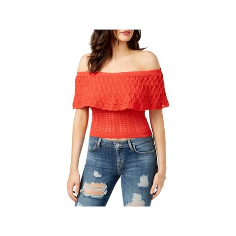 Guess Womens Amina Pullover Sweater Ruffled Off-The-Shoulder