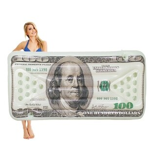 "$100 Bill Beer Pong Pool Float - Water Inflatable Raft - 36"" x 72"" - gray"