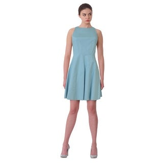 Halston Heritage Crew Neck Fit & Flare Sleeveless Cocktail Dress - 0