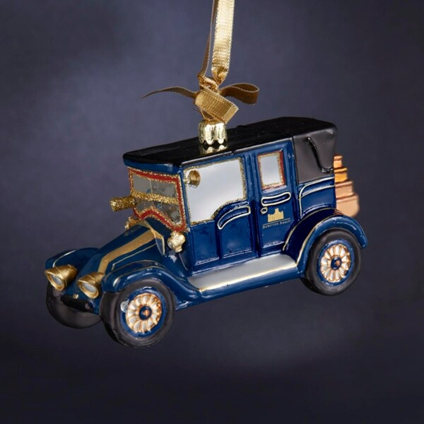 "5.25"" Downton Abbey Antique Style Lord Grantham's 1911 Blue Renault Glass Car Christmas Ornament"