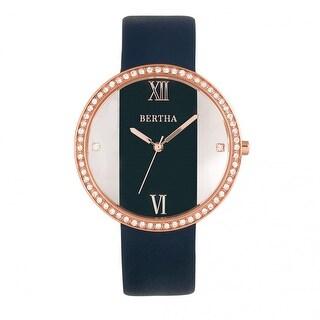 Bertha Ingrid Leather-Band Watch - Navy