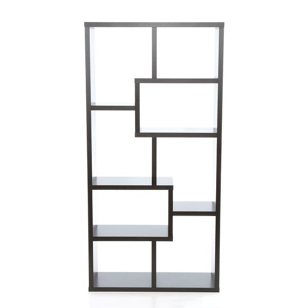 Modern 70-inch High Display Cabinet Bookcase in Dark Brown Cappuccino Wood Finish