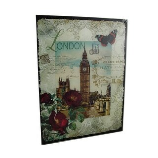 Decorative London Big Ben Floral Glass Wall Hanging - White