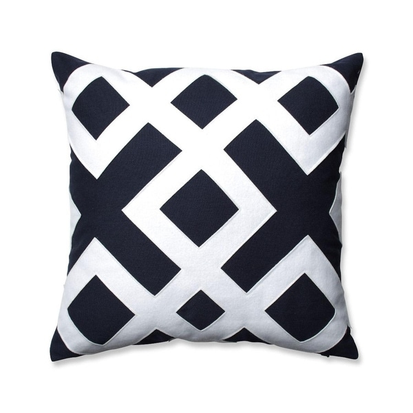 "16.5"" Navy Blue and White Geometric Design Decorative Throw Pillow"