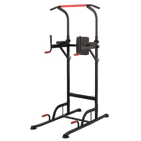ZELUS Power Tower with Adjustable Height Pull Up Bar and Dip Station