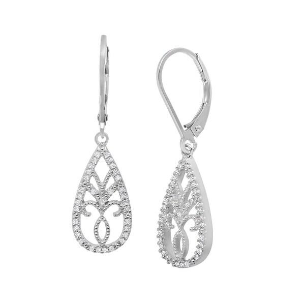 1/5 ct Diamond Filagree Earrings in Sterling Silver