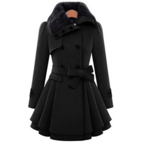Womens Slim Trench Coats Fur Collar Peacoat Winter Woolen Coat Jackets Outwear