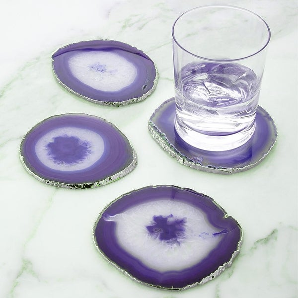Modern Home Set of 4 Natural Agate Stone Coasters. Opens flyout.