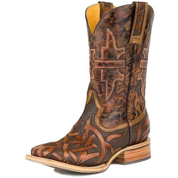 Tin Haul Western Boots Men Stag Bear Grizzly Brown