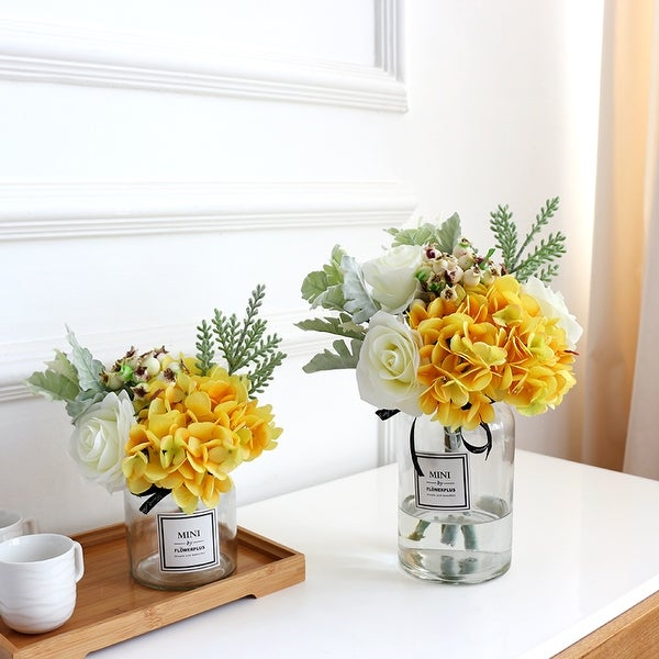 FloralGoods Yellow Hydrangea White Rose and Greenery in Vase