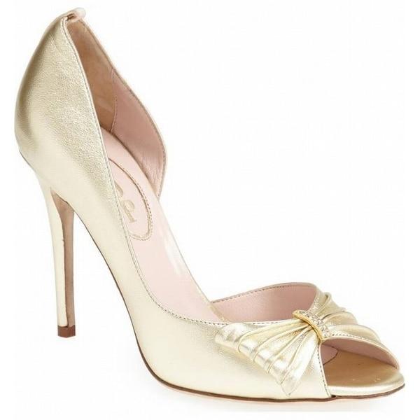 SJP NEW Gold Women's Shoes Size 10M Doris Open Toe Leather Pump