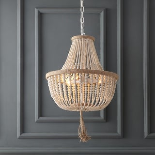 Link to Safavieh Lighting Kristi 3-light Cream Adjustable Beaded Pendant Lamp Similar Items in Chandeliers