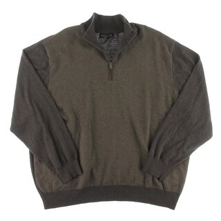 Weatherproof Mens Big & Tall Pullover Sweater Faux Suede 1/4 Zip