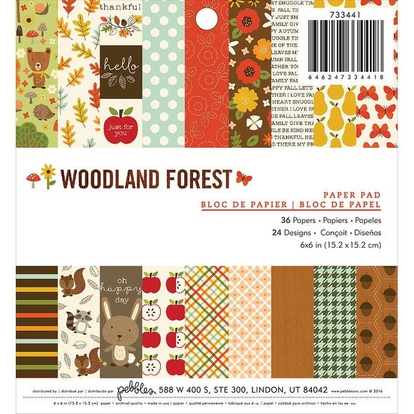 "Pebbles Single-Sided Paper Pad 6""X6"" 36/Pkg-Woodland Forest"