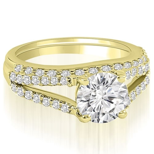 1.32 cttw. 14K Yellow Gold Cathedral Split Shank Round Cut Diamond Bridal Set
