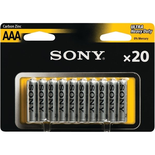 Sony R03Nub20A Heavy-Duty Carbon Zinc Aaa Batteries, 20 Pk