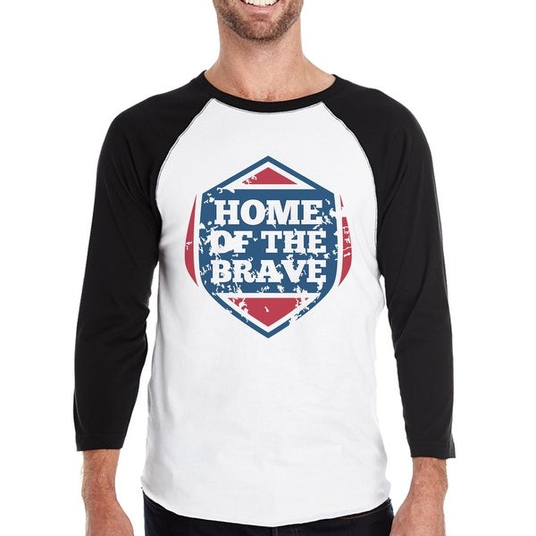 4fc0fce82 Shop 365 Printing Home Of The Brave Mens Baseball T-shirt 3/4 Sleeve ...