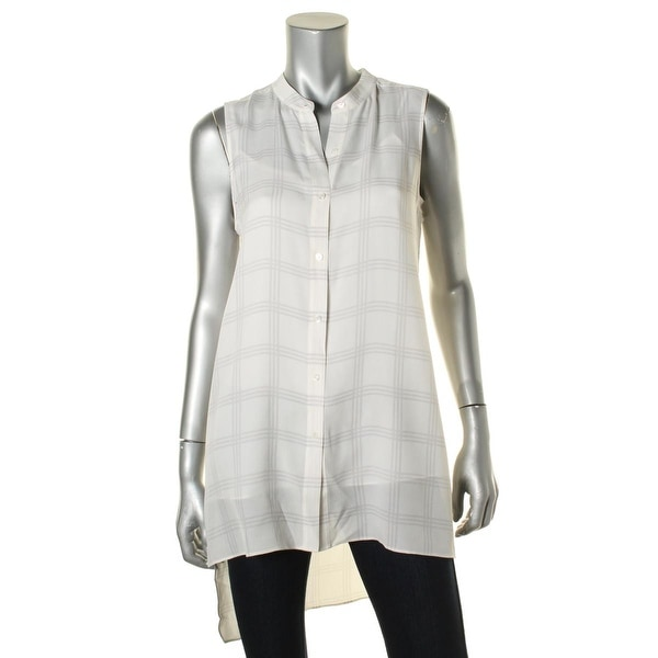 Eileen Fisher Womens Tunic Top Silk Mandarin Collar