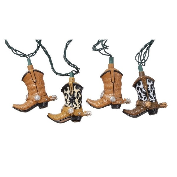 Gift Corral Western Cowboy Boots Light Strand Christmas Brown
