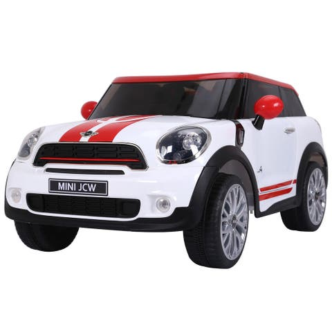 Gymax White Electric MINI PACEMAN Kids Ride On Car Licensed R/C Remote