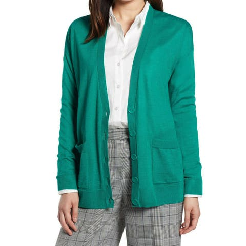 Halogen Womens Green Size Large L V-Neck Button-Up Cardigan Sweater